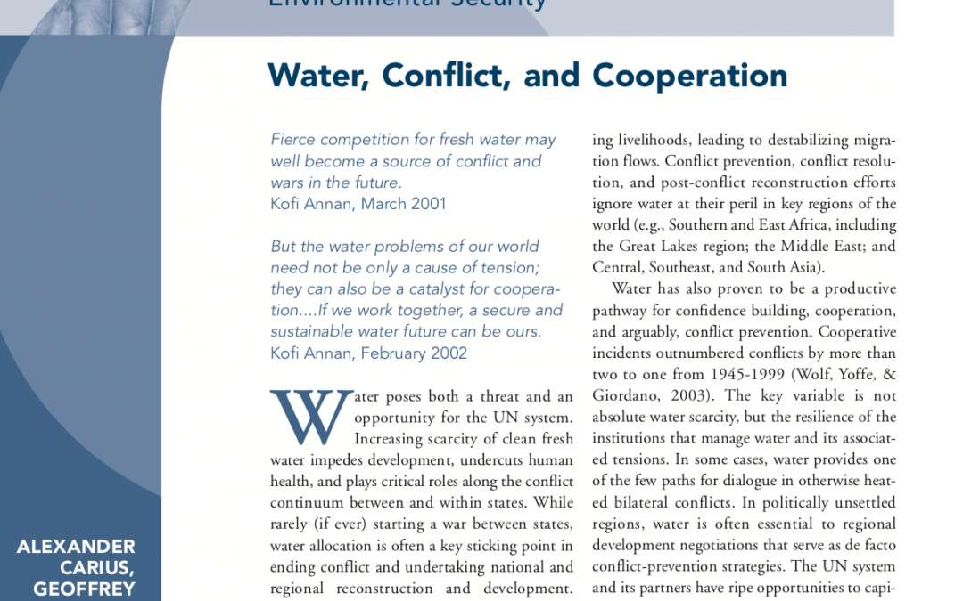 Water, Conflict and Cooperation